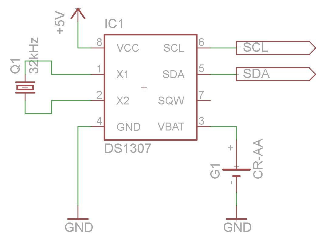 Eine Ds1307 Als Uhr Verwenden Kampis Elektroecke Ds1307realtimeclockschematic Beschaltung Der